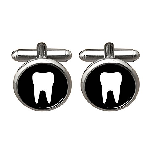 ZUNON White Teeth Dentist Fathers Birthday Christmas Wedding Silver Cufflink