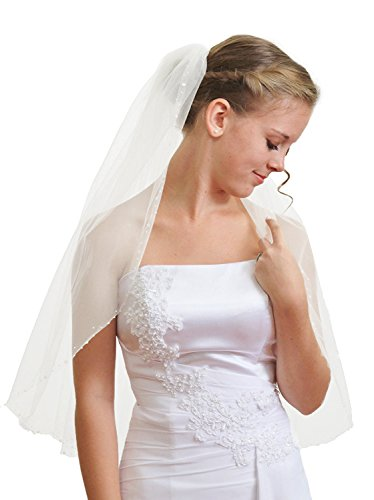 One Bead Short - HEAR Women's 2 Tier Wedding Veil Ivory Short Beads Bridal Veil With Comb Hear043veil