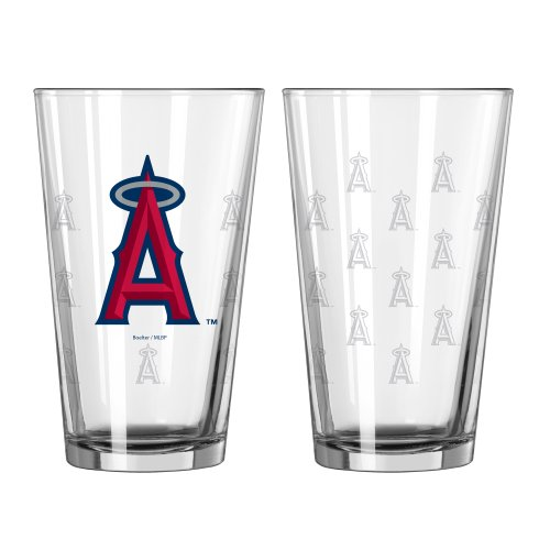 MLB Los Angeles Angels Satin Etch Pint Glass Set (Pack of 2), 16-Ounce by Boelter Brands