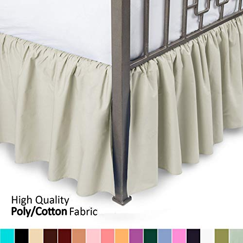 Ruffled Bed Skirt with Split Corners - Queen, Bone, 21 Inch Drop Bedskirt (Available in and 16 Colors) Dust Ruffle. ()