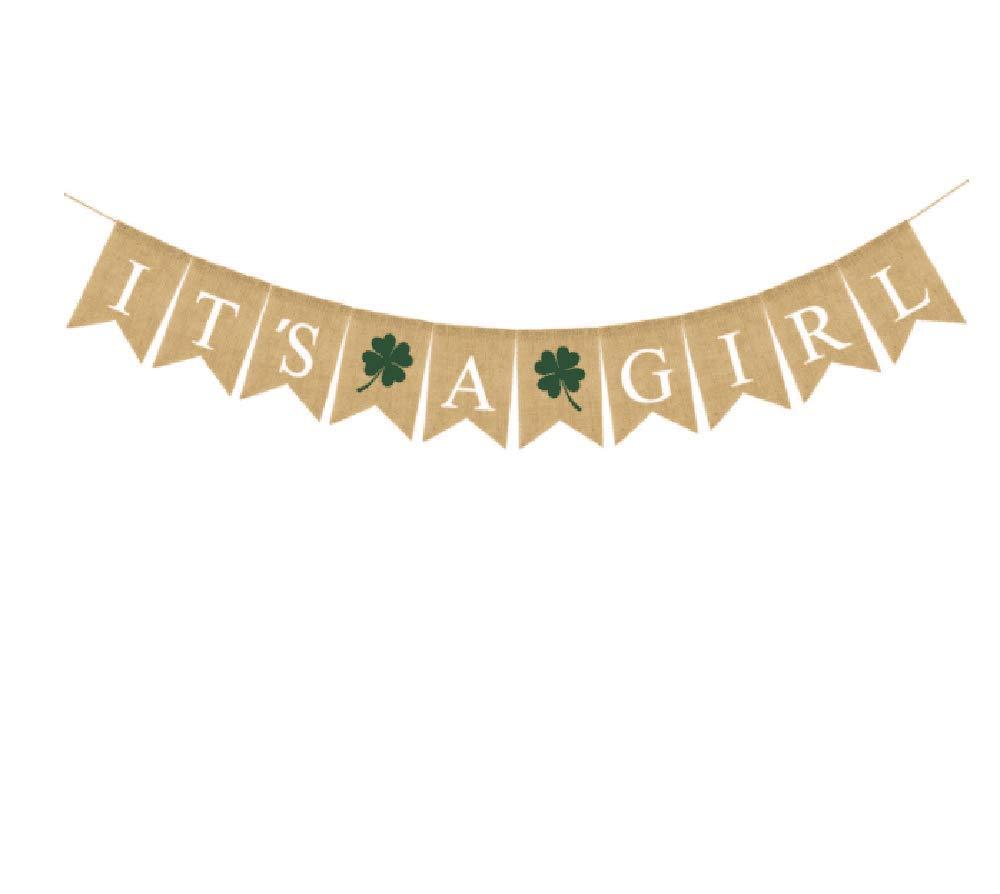 IT'S A GIRL バナー シャムロック バナー パーティー ガーランド バンティング バナー 洗礼式 ベビーシャワー 装飾 誕生日パーティー 記念品   B07LB3PBJ8