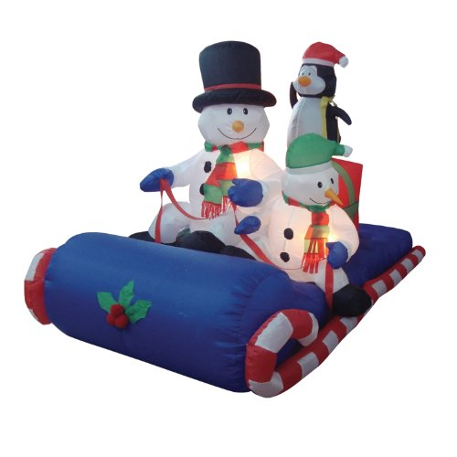 6 Foot Long Christmas Inflatable Snowman Penguin on Sleigh Yard Decoration (Decoration Sleigh Christmas)