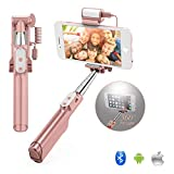 GEANOV Bluetooth Mini Selfie Stick - Handheld Extendable Monopod with Rear Mirror and LED Flash Fill Light for iPhone Samsung Galaxy Note LG HTC Android IOS Cellphones(A6-Rose Gold)
