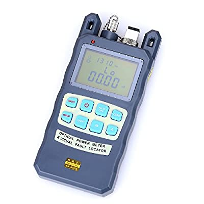 ALL-IN-ONE Fiber Optical Power Meter Fiber Optic Cable Tester -70 to +10dbm and 10mW 10KM Visual Fault Locator Portable Optical Power Meter with SC and FC Connector Fiber Tester
