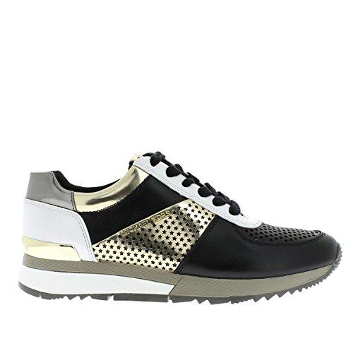 Michael Michael Kors Women's Allie Trainer (10 M US, Black/Pale Gold) (Boutique Designer Leather)