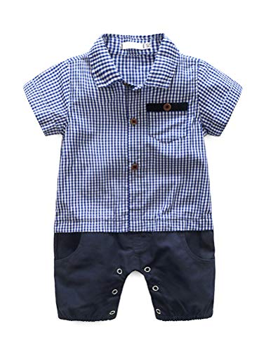 Abolai Baby Boys' Cute Pure Cotton Plaid Stitching Rompers Blue ()