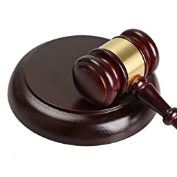 Vktech® Wooden Handcrafted Wood Gavel Sound Block for Lawyer Judge Auction Sale (Style I)