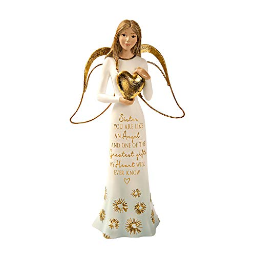 Pavilion Gift Company 7.5 Inch Resin Figurine Sister You are Like an Angel and One of The Greats Gifts My Heart Will Ever Know, Gold