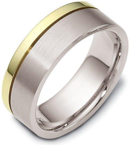 - 7.5mm Titanium & 14 Karat Yellow Gold Classic Wedding Band Ring - 4