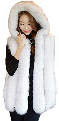最大ダウン侮辱(Bidasu)2色 帽子付き ファーベスト レディース 秋冬 フェイクファーベスト フェイクフォックス 大きいサイズ ふわふわ 高級感 C3