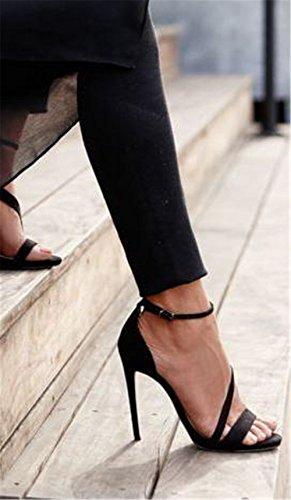 Damen Sexy Sandalen Stilett Hoch Hacke Schuhe Wildleder Knöchel Gurt Schnalle Schwarz Arbeit Party Kleid Nachtclub BLACK