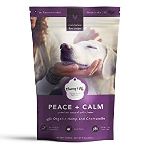 Calming Premium Natural Dog Organic Hemp Treats | Pet Relief for Anxiety, Stress, Barking, Seperation | Behavior Aid and Composure Support | Chamomile, Valerian Root, Passion Flower | 90 Soft Chews