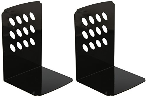 DELI Simply Style Heavy Duty Metal Bookends, 2 Pairs per Package, Black or White Color (8.4 inch Black)