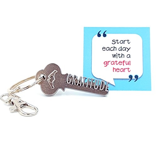 key2Bme GRATITUDE key - heart love keychain & inspirational quote - the cool fun unique small gift idea under $10 for giving teacher volunteer employee appreciation thank you grateful attitude (Employees Under Gift For Ideas 10)