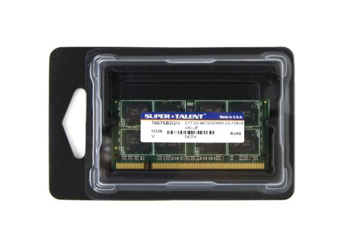 Super Talent DDR2-667 SODIMM 2GB/128 x 8 Value Notebook Memory T667SB2G/V by Super Talent (Image #1)