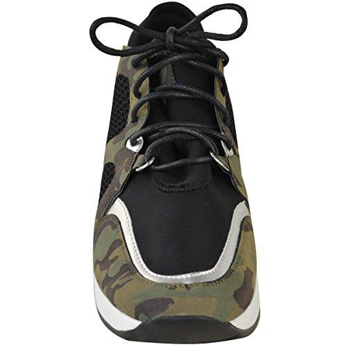 DONNA da Camo CAMOUFLAGE ALTA sportive Nubuck sportive misura palestra Scarpe moda sport CAVIGLIA UK ZEPPA ZOrqfvwAZX