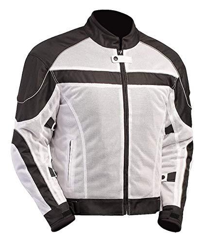 BILT Techno Mesh Motorcycle Jacket - LG, White/Black
