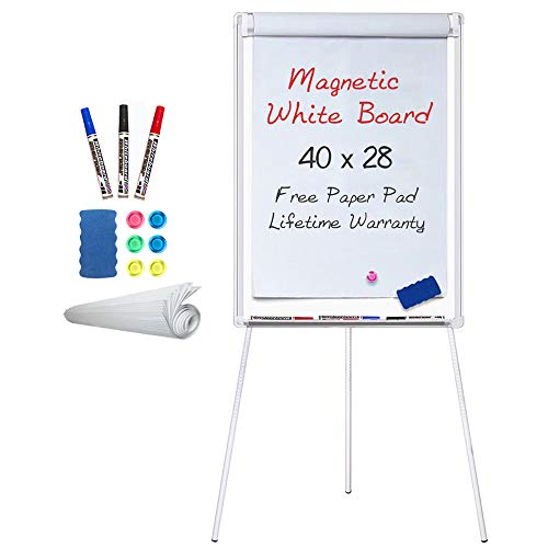 Easel White Board - Magnetic Tripod Whiteboard Portable Dry Erase Board 40 x 28 inches Flipchart Easel Board Height Adjustable, Stand White Board -
