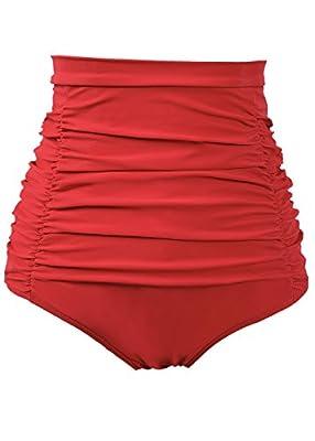 COCOPEAR Women's Ruched High Waisted Bikini Bottom Retro Vintage Swim Short Tankinis (FBA)