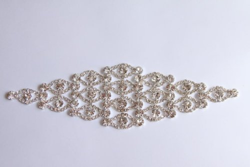 Sew On Diamond Eyelet Rhinestone Applique - 8 Inches by Cosmetic Counter