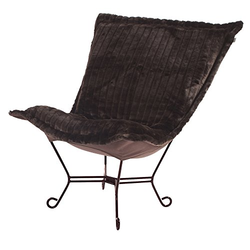 Howard Elliott 555-285 Scroll Puff Chair with Mahogany Frame, Mink Brown (Living Room Mahogany Chaise)