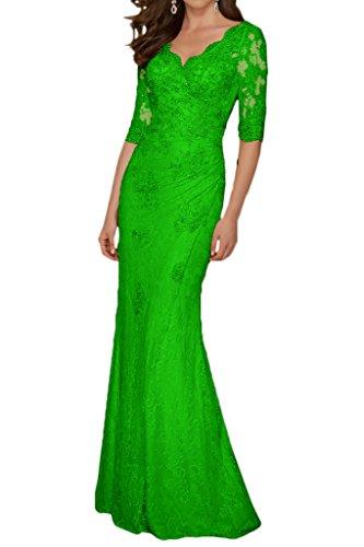 Milano Bride Damen V-Ausschnitt Etui Halbarm Abendkleider Lang Festkleider Brautmutter Hochzeitskleider Spitze Grün rRwUVPSq