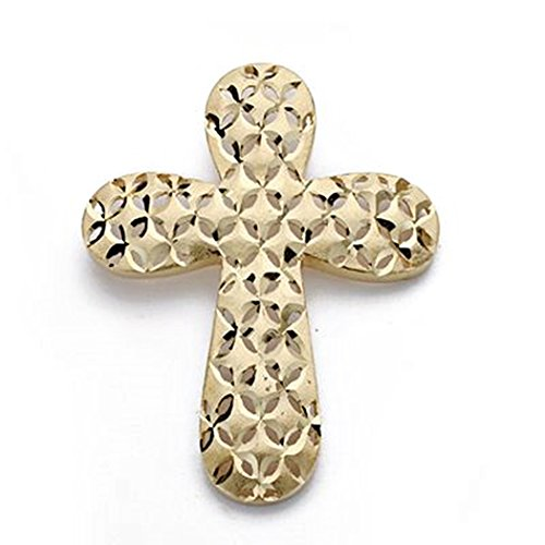 Or 18k pendentif croix sculpté grand 39mm. [AA0125]
