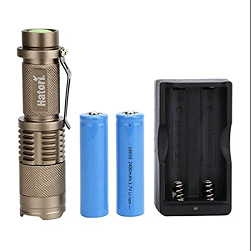 Hatori Rechargeable 18650 Flashlight Ultra Bright Handheld LED Flashlight Zoomable Focus 5 Light Modes Water Resistant Torch, Battery-Powered (Included) Tactical Flashlight with Charger, Bronze