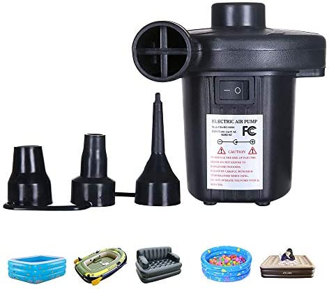 Walmeck Electric Air Pump Quick-Fill Portable Inflator Inflation Deflation Pump 3 Nozzles Cigarette Adapter for Pool Floats Raft Bed Boat Toy