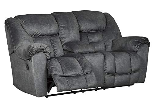 Signature Design by Ashley Capehorn Double Reclining Loveseat with Console Granite