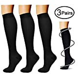 Compression Socks (3 Pairs) 15-20 mmHg is Best Athletic & Medical for Men & Women, Running, Flight,...