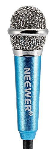 Neewer® Mini Condenser Microphone for IOS/Android/Windows Intelligent Devices(Smartphone, Notebook or Computer), with 3.5mm Mic Cable,Earphone,Two-jack Connection Line and Mic Stand(Blue)