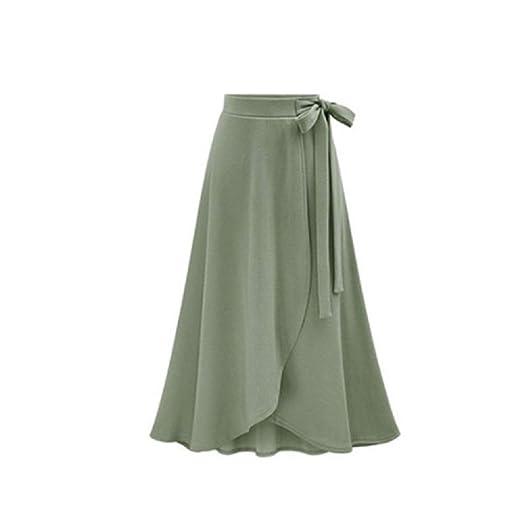Falda de Amarre Grande para Mujer Falda Lisa de Color sólido Liso ...