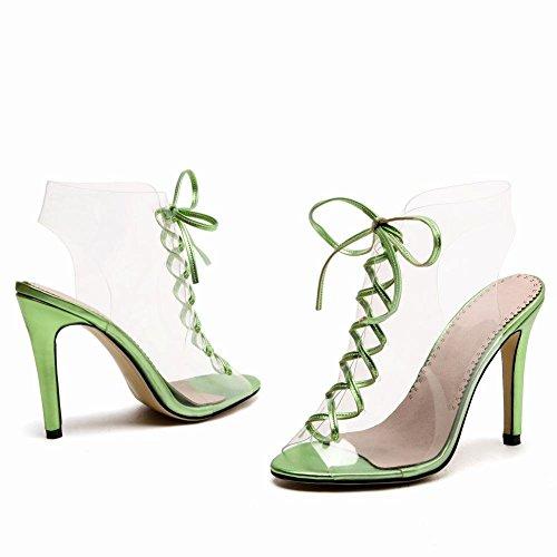 YE Damen Damen High Heel Slingback Durchsichtig Schnür-Sandalen Offen mit 10cm Absatz Elegant Abend Sommer Schuhe Grün