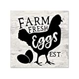 EricauBird Farm Fresh Eggs Wood Sign, Rustic