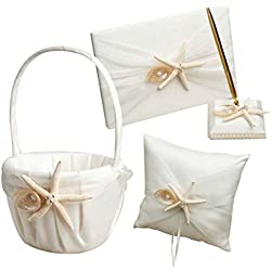 Dollbling Beach Theme Starfish Seashell Design Ivory Satin Wedding Flower Girl Basket+Ring Pillow+Guest book+Pen Holder Set