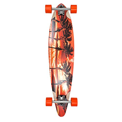 Palisades Longboards Palm Girl's Complete Skateboard, Orange, 9.25 x 40-Inch