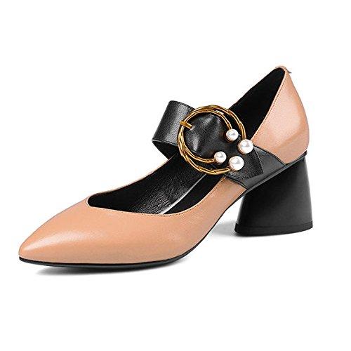 Talons DKFJKI Brown Chaussures à Pompes épais Femmes Pompes Mary Jane Ft4BwqFrH