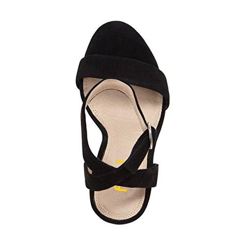 FSJ Women Sexy Ankle Strap Platform Sandals Open Toe Chunky High Heel For Summer Shoes Size 4-15 US Black JKjopEFi9