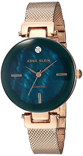 Anne Klein Women's AK/2472NMRG Diamond-Accented Rose Gold-Tone Mesh Bracelet Watch