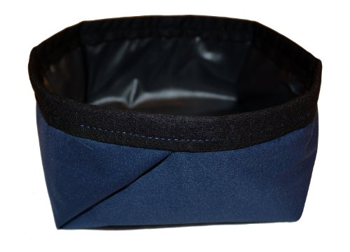 Cheap Made in USA 100% Waterproof Washable Fabric Collapsible Folding Travel Pet Dog Water Bowl (Jogging, Hiking, Camping or Car)( Navy with Black Trim; Trekking)