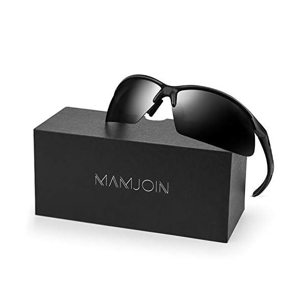 Mamjoin Polarized Sports Sunglasses for Men Women Fashion Mirrored Lenses
