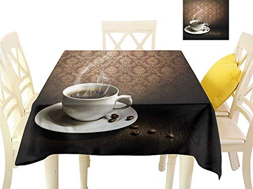 Decorative Textured Fabric Tablecloth Hot Mug Wooden Table Damask Indoor Outdoor Camping Picnic W36 x L36
