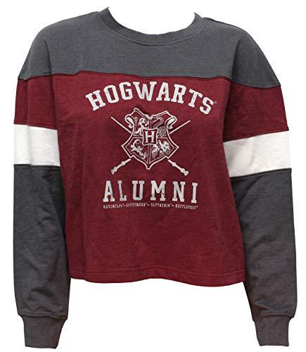 Harry Potter Juniors Distressed Hogwarts Alumni Varsity Long Sleeve Crop Top Shirt (Medium) (Alumni Clothing)