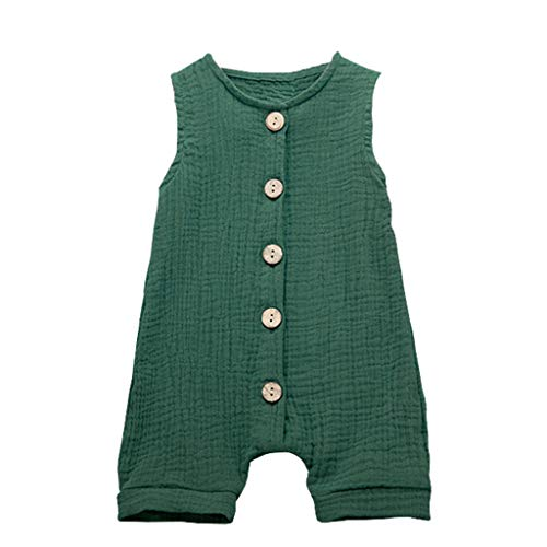 (LiLiMeng Summer Infant Baby Boys&Girls Ruffles Solid Button Vest Sleeveless Long Romper Jumpsuit Clothes Green)