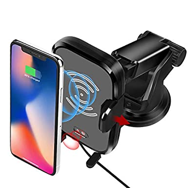 Wireless Car Charger, Automatic Wireless Charger Mount Vent Holder Fast Charging for Samsung Galaxy S9 S9 Plus S8 S7/S7 Edge Note 8 Standard Charge for iPhone X 8/8 Plus &Qi Enabled Devices (Black) Sivton ST-A0088