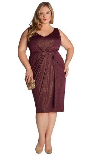 IGIGI Women's Plus Size Nora Dress in Gold/Plum 12