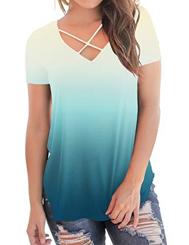 Women's Plus Size T Shirts Short Sleeve V-Neck Tees Basic Soft Summer Tops Green