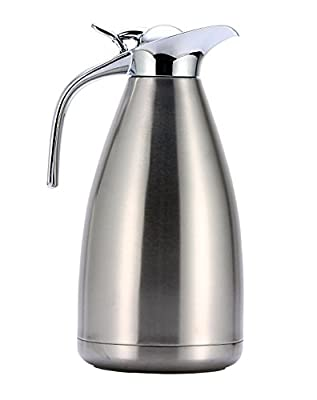 HUSKEY 68 OZ Stainless Steel Thermal Coffee Carafe - Double Walled Vacuum Insulated Carafe with Press Button Top - Quality Thermal Beverage Dispenser