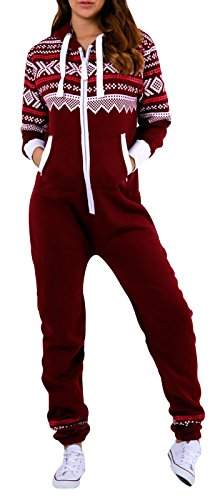 SKYLINEWEARS Womens Onesie Fashion Playsuit Ladies Jumpsuit Aztec Burgundy S